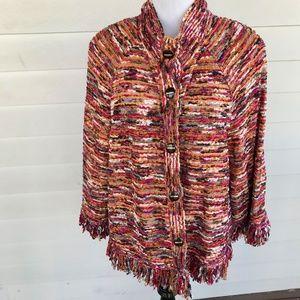 St John Yellow Label Tweed Fringe Jacket